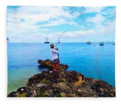 Fishing Paradise Fleece Blanket