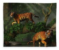 Fishing Tigers Fleece Blanket