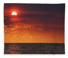 Fishing Till The Sun Goes Down Fleece Blanket