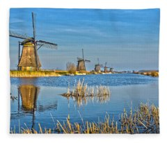 Five Windmills At Kinderdijk Fleece Blanket