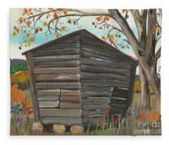 Autumn - Shack - Woodshed Fleece Blanket