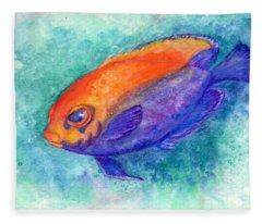 Flameback Angelfish Fleece Blanket