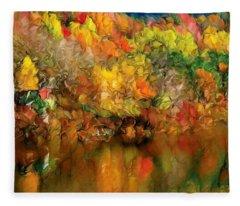 Flaming Autumn Abstract Fleece Blanket