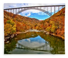 Flaming Fall Foliage At New River Gorge Fleece Blanket