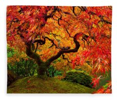 Flaming Maple Fleece Blanket