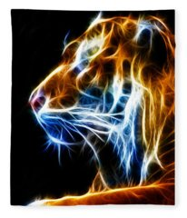 Flaming Tiger Fleece Blanket
