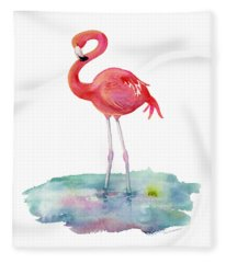 Flamingo Pose Fleece Blanket