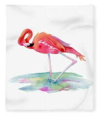 Flamingo View Fleece Blanket