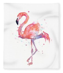 Flamingo Watercolor Fleece Blanket