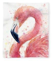 Flamingo Watercolor Painting Fleece Blanket