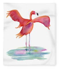 Flamingo Wings Fleece Blanket