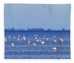Flamingos In The Pond Fleece Blanket