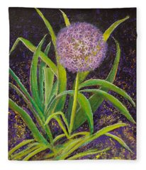 Fleur D Allium With Iris Leaves Backup Fleece Blanket