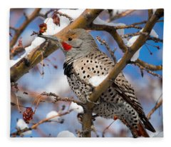 Flicker In Snow Fleece Blanket