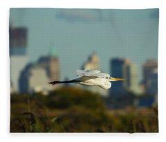 Flight Of The Great Egret Fleece Blanket