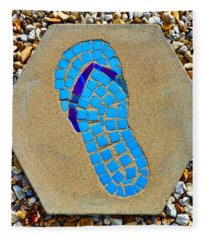 Square Flip Flop Stepping Stone Two Fleece Blanket