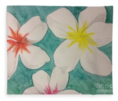 Floating Plumeria Fleece Blanket