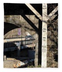 Flood Height Sign At Ellicott City Maryland Fleece Blanket