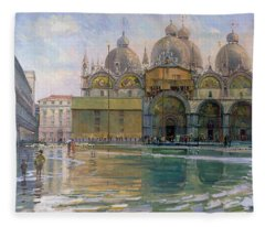 Flood Tide, Venice, 1992 Oil On Canvas Fleece Blanket