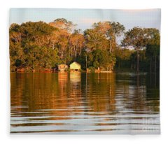 Flooded Amazon With Houses Fleece Blanket