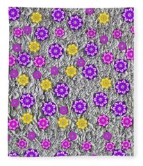 Floral Fantasy And Silver  Fleece Blanket