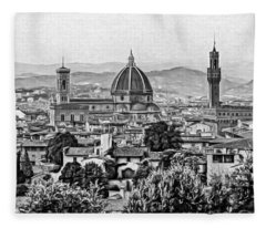 Florence Panorama - Paint Bw Fleece Blanket