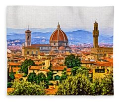 Florence Panorama - Paint Fleece Blanket