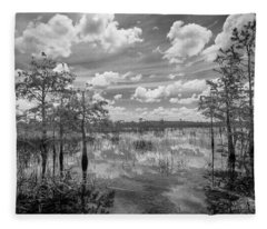 Florida Everglades 5210bw Fleece Blanket