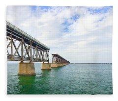 Florida Overseas Railway Bridge Near Bahia Honda State Park Fleece Blanket