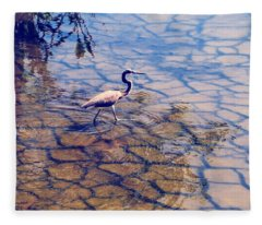 Florida Wetlands Wading Heron Fleece Blanket