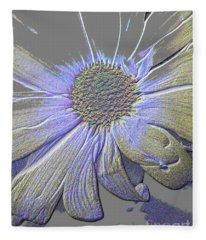 Purple And Grey Queen. Flower Fleece Blanket