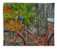 Flower Basket On A Bike Fleece Blanket