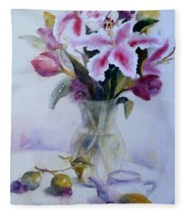 Flower Bouquet With Teapot And Fruit Fleece Blanket