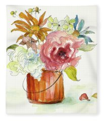 Flower Burst In Vase I Fleece Blanket