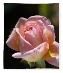 Flower-pink And Yellow Rose-bud Fleece Blanket
