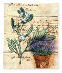 Flower Pot And Vintage Plant On Paper Fleece Blanket