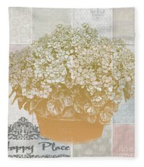 Flower Pot With Beautiful Checked Vintage Background And My Happy Place Script Fleece Blanket