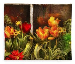 Flower - Tulip - Tulips In A Window Fleece Blanket