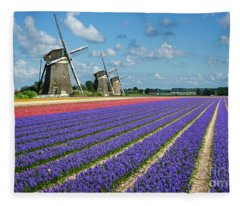 Landscape In Spring With Flowers And Windmills In Holland Fleece Blanket