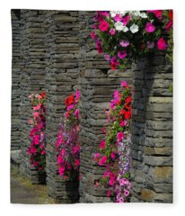 Flowers At Liscannor Rock Shop Fleece Blanket
