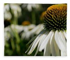 Flowers - Echinacea White Swan Fleece Blanket