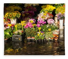 Flowers For Sale At Campo De Fiori - My Favourite Market In Rome Italy Fleece Blanket