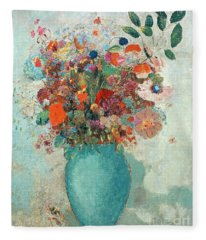 Flowers In A Turquoise Vase Fleece Blanket