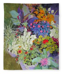 Flowers In The Courtyard Fleece Blanket