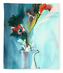 Flowers In Vase Fleece Blanket