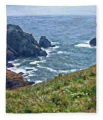 Flowers On Isle Of Guernsey Cliffs Fleece Blanket