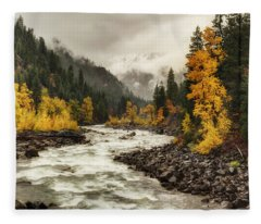 Flowing Through Autumn Fleece Blanket