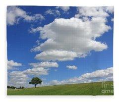 Fluffy Clouds Over Epsom Downs Surrey Fleece Blanket
