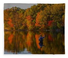 Fly Fishing Fleece Blanket
