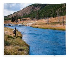 Fly Fishing In Yellowstone  Fleece Blanket